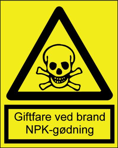Giftfare ved brand/NPK gødning - Plast