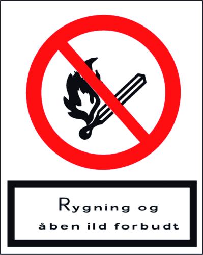 Rygning og åben ild forbudt - Plast