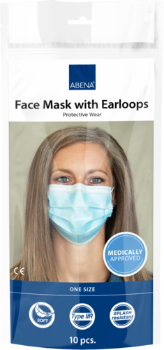 Abena Face Mask with Earloops, type IIR, Excellent, 3-layer, blue